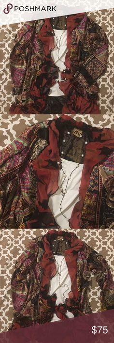 URU ➰ 100% Silk ➰NWOT URU ➰ 100% Silk ➰NWOT ➰ Bought at Wise Buys in the New Orleans French Quarter ➰ sleeve length is 23 inches ➰ length in front 29 inches ➰ length in back is 32.5 inches ➰ the width is 22.5-23 inches URU Tops Tunics