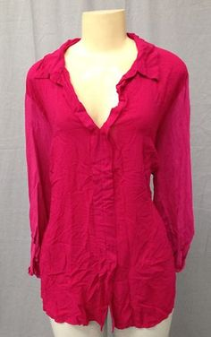 $39 Splendid Knit Woven Shirt Top Size 3X Pink Red New