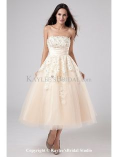 Satin and Tulle Strapless Tea-Length A-line Wedding Dress with Embroidered