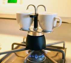 The Bialetti Mini Express 2-Cup Stovetop Percolator makes great tasting espresso in 4-5 minutes! Easy to Use, Fits right on the stovetop, Italian quality and design.