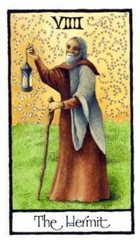 September 18 Tarot Card: The Hermit (Old English deck) Step back and listen to your inner voice now. Through peace and solitude we find the will and wisdom to move forward