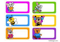 targhette-libri-quaderni Name Labels, Name Tags, Preschool Names, Cute Laptop Stickers, Classroom Labels, School Labels, Paper Flowers Craft, Back 2 School, Art Activities