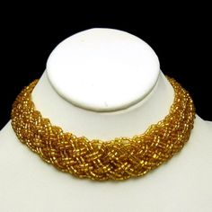 Yellow Braided Glass Beads Wide Choker by MyClassicJewelry on Etsy