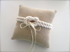 Linen wedding ring pillow nautical rustic by EandAHeritage on Etsy