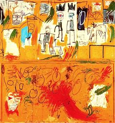 Hand painted reproduction of Untitled Yellow Tar and Feathers This masterpiece was painted originally by Jean-Michel-Basquiat. Museum quality handmade oil painting reproduction oil painting on canvas. Jean Basquiat, Jean Michel Basquiat Art, Kandinsky, Basquiat Paintings, Radiant Child, Graffiti, Street Art, Klimt, Art Brut