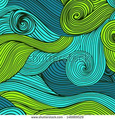 Vector hand-drawn waves texture, wavy background.  Backdrop template design. Looks like leaf, water waves, hairs. Colorful abstract sea composition. Maritime. Tangled design. - stock vector