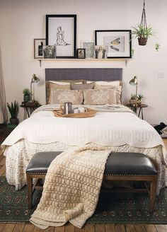 bedroom wall decor above bed Shelf Above Bed, Headboard With Shelves, Shelving Above Bed, Art Above Bed, Bedroom Wall Decor Above Bed, Bedroom Decor, Bedroom Ideas, Bed Ideas, Above Headboard Decor