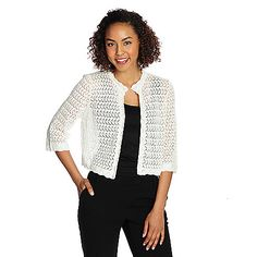 721-279 - The Countess Collection Open Stitch Knit 3/4 Sleeved Shrug