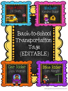 Back-to-School Transportation Tags include tags for bus riders, car riders, walkers, and bike riders. These tags are editable so you can change the names of the students. Print these tags on card stock, punch holes in the top, and make a necklace of these so they\'re reusable. Laminate for longer usage.
