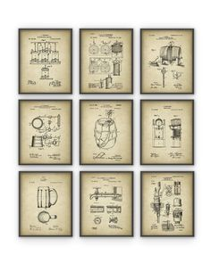 Beer Brewing Patent Prints Set of 9 Brewery by QuantumPrints