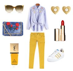 """""""#outfits Welcome March"""" by milena-lister-quevedo on Polyvore featuring moda, JIMMY TAVERNITI, adidas, Yves Saint Laurent, Marc Jacobs, Steven Alan, Boohoo y Clarins"""
