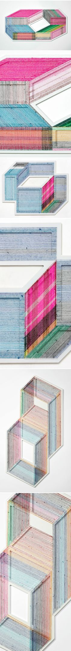 sarape blankets deconstructed and REconstructed into wall installations, by adrian esparza <3
