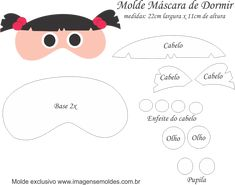 Molde Máscara de Dormir Boo M SA - Molde EVA e Feltro Monsters Inc, Sleep Mask, String Art, Felt Crafts, Stencils, Weaving, Knitting, Disney Princess, Pattern