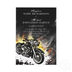 Biker Wedding Invitations For A Motorcycle Theme Wedding. Cool!
