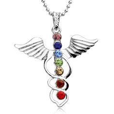 Angel Wings Natural 7 Gem Stone Beads Necklace