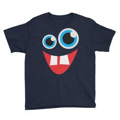 Funny Monster Face Youth Short Sleeve T-Shirt