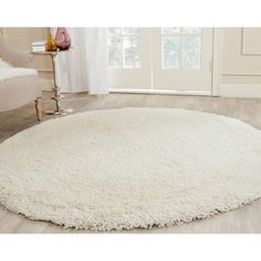 Safavieh Cozy Solid Ivory Shag Rug (6' 7 Round) - Overstock Shopping - Great Deals on Safavieh Round/Oval/Square