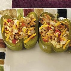 Turkey-Stuffed Bell Peppers Recipe. Replace the turkey with Veggie Crumbles...Yummers