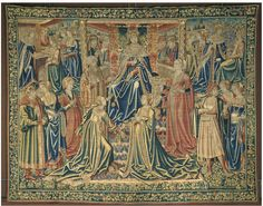 Tapestry from Brussels, V Museum. Franco-Flemish Netherlandish transitional gowns: 'V'-Necks & 'Wrap'/Coat-Style Tapestry Weaving, Tapestry Wall Hanging, World Tapestry, Wolf Hall, Modern Tapestries, Medieval Tapestry, Grand Palais, Francis I, Victoria And Albert Museum