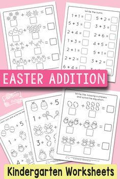 Easter Kindergarten Addition Worksheets #mathworksheets #kindergartenworksheets #freeprintables
