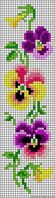 "Amor perfeito ponto cruz [ ""Learn to make your own colorful bracelets of threads or yarn. As fun for beginners as it is to intermedates. Learn. Get inspiration. Share ideas."", ""Pansies perler bead pattern or bookmark"", ""x .plastic canvas bookmark in 10 count. Use embroidery floss."", ""this would be a great panel between the yelly roll race quilts Pansies perler bead pattern"", ""menekşe mendilin düşe bizden size kim düşe ;)"", ""Pansies - Great templates for minecraft designs"", ""Love..."