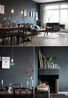 """Hans Blomquist for Fastighetsbyrån, Farrow & Ball wall paint """"Down Pipe"""" New Living Room, Home And Living, Living Styles, Decoration, House Colors, Interior Styling, Interior Inspiration, Scandinavian Home, House Design"""