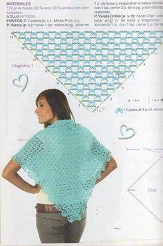 Chal - Knitting and Crochet Crochet Shawl Diagram, Crochet Chart, Love Crochet, Crochet Lace, Crochet Stitches, Crochet Shawls And Wraps, Crochet Scarves, Crochet Designs, Crochet Patterns