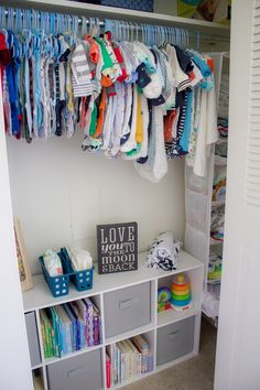 Get inspired (by Erin of Caffeine & Cuddles) to de-clutter closets stuffed w/ holiday decorations you only bring out once a year ad Boy Toddler Bedroom, Toddler Rooms, Baby Bedroom, Baby Boy Rooms, Kids Bedroom, Toddler Boy Room Ideas, Child Room, Girl Rooms, Toddler Closet Organization