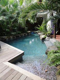 Swimming pools backyard, Pool, Small backyard design, Small backyard, Backyard p. Small Swimming Pools, Small Pools, Swimming Pools Backyard, Swimming Pool Designs, Swimming Ponds, Lap Pools, Backyard Beach, Small Backyard Pools, Backyard Patio