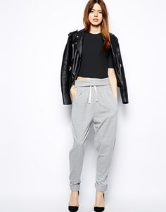 Image 1 of ASOS Slouchy Peg Pants In Gray Marl
