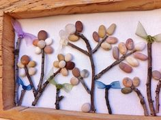 Autumn Fall Flowers Beach Pebble Picture with by kormendesigns