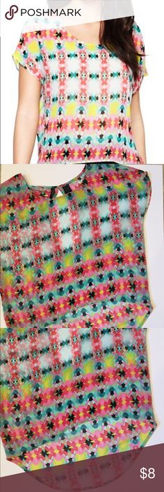 Bisou Bisou bright colored top! Size small high low hem top. Perfect condition and bright summer colors! Bisou Bisou Tops Blouses