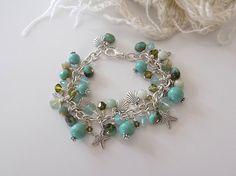 Ocean Bracelet  Starfish Charm Bracelet Beach Jewelry Green Blue Bracelet Summer Jewelry Seashell Jewelry Gift for Her
