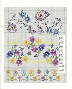 0 0 point de croix grille et couleurs de fils bordures, liserés fleurs pensées                                                                                                                                                      Plus