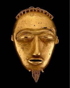 #weloveafricanart  This maskette is a superb example of the skill of a Baule goldsmith.Gold pendant heads were popular as hair adornments in the Baule region duringthe 19th century. Although no longer items of personal adornment gold ornaments are still used at times to embellish the sculpted coiffure of a Baule face mask. Although attributed to the Baule this maskette and other forms of jewelry made by Baule smiths could have circulated in the coastal region of Côte d'Ivoire where gold…
