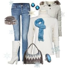 """Winter Blues""~ Cute winter #outfit. #fashion #jeans #white #boots #handbag #handbags #jewelry #coat"