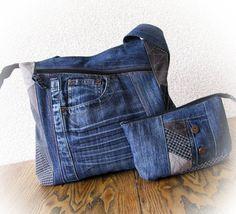 denim bag&purse patchwork bag handmade denim bag by klaptykart