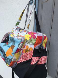 Grand Sac à langer , sac Week End personnalisé , sac à langer oiseaux , sac tissu tropical** Sur Commande -Tissus aux choix ** Sac Week End, Diaper Bag, Creations, Boutique, Bags, Fabric Bags, Fabrics, Changing Bag, Book Bags