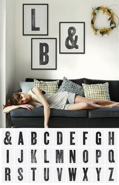printable giant letters - for the West wall of the Living room, E & S