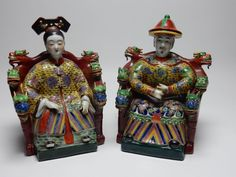 Pair of Antique Chinese Famille rose statues of Emperor and Empress 12 inches
