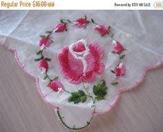 50% OFF SALE Vintage Embroidered Pink Rose Hankie  Hanky