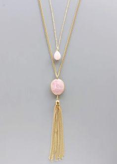 Layered Soft Rose Quartz Necklace