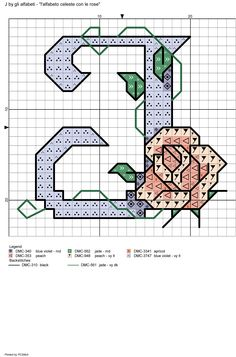 alfabeto celeste con le rose: J