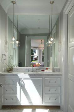 White Vanity Bathroom, Modern Bathroom, Small Bathroom, Master Bathroom, Bathroom Mirrors, Bathroom Cabinets, Bathroom Faucets, Glamorous Bathroom, White Bathrooms