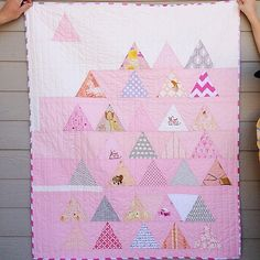 Scrappy Pink Trees--Made after (blue elephant stitches) triangle quilts. Backed in grey damask minky.