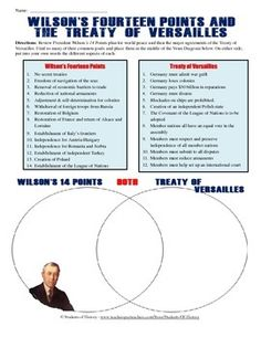 Printables Treaty Of Versailles Worksheet treaty of versailles and 14 points venn diagram the two this excellent worksheet has students analyzing woodrow wilsons with final resolutions the