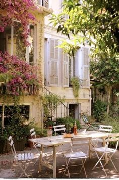 Al fresco dining in a beautiful private garden.  Very French.