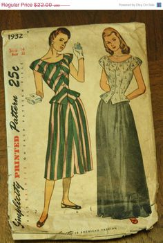 25% SPRINGFLING Simplicity 1932 1940s 40s  by EleanorMeriwether