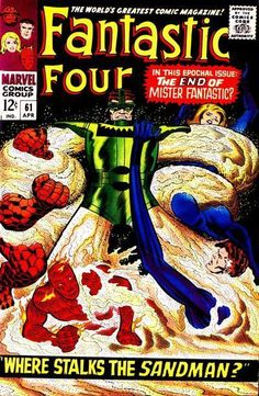 This Fantastic Four issue was published in April 1967 by Marvel Comics and features The Sandman. For sale is a Silver Age 1967 Fantastic Four Comic from Marvel Comics. In my opinion, this Comic is in Very Good Condition. Marvel Comics Superheroes, Marvel Comic Books, Comic Book Heroes, Marvel Heroes, Marvel Characters, Dc Comics, Marvel Villains, Horror Comics, Marvel Vs
