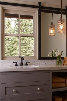 Clever mirror solution for window over vanity. Sliding track for mirror Home - ADL: Interior Designer San Francisco